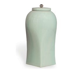 Port 68 - Boulevard Jar, Celadon, Large - Set this porcelain jar on your kitchen countertop or entryway table for a clean, minimal look. Finished in soft celadon with a nickel ball finial, this Boulevard Jar can hold water for fresh flowers or stand alone as an elegant decorative element.