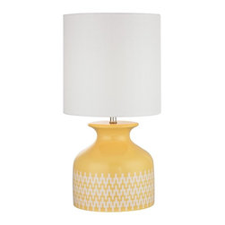 Joshua Marshal - One Light White Linen Shade Sunshine Yellow With Extended Chevron Patt - One Light White Linen Shade Sunshine Yellow With Extended Chevron Patt