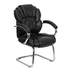 Flash Furniture - Black Faux Leather Transitional Side Chair w - Button tufted back and seat. Thick padding. Chrome finished loop arms. Leathersoft (leather+poly blend) upholstered padded arm rests. Chrome finished sled base. Non marring floor glides. Warranty: 2 years limited. No assembly required. Back: 21 in. W x 22 in. H. Seat: 21.5 in. W x 21 in. D. Seat Height: 19.5 in.. Arm Height from Floor: 28.5 in.. Arm Height from Seat: 9 in.. Overall: 25.25 in. W x 25 in. D x 39.25 in. H (38 lbs.)
