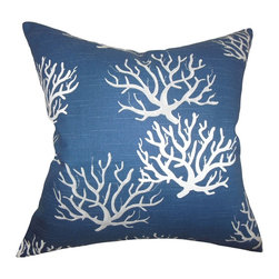 The Pillow Collection - Hafwen Coastal Pillow Navy Blue - This throw pillow is a great way to create an underwater theme to your interiors. This indoor pillow features a white-hued coral pattern printed against a blue background. Use this toss pillow to finish off your living room, bedroom or lounge area. Mix and match with solids and other patterns from our wide selection of accent pillows. Hidden zipper closure for easy cover removal.  Knife edge finish on all four sides.  Reversible pillow with the same fabric on the back side.  Spot cleaning suggested.