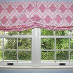 Custom Window Treatments by Lynn Chalk - Custom Casual Double Roman Shade with center pleat by Lynn Chalk in Christopher Farr Venecia in Hot Pink