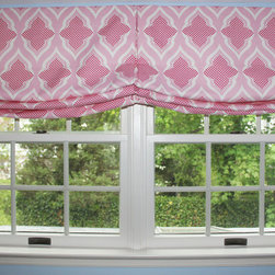 Custom Window Treatments by Lynn Chalk - Custom Casual Double Roman Shade with center pleat by Lynn Chalk in Christopher Farr Venecia in Hot Pink