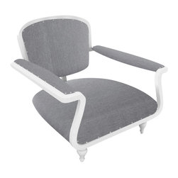 Consigned Outdoor Paris Armchair - The Paris armchair makes a charming accent for any outdoor seating area. Its shapely powder-coated aluminum form and nailhead trim references an antique armchair, while the Sunbrella upholstery assures you that this witty piece will look fresh for years to come.