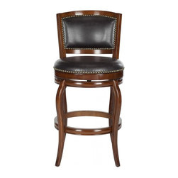 Safavieh - Pasquale Bar Stool - Truly transitional, the Pasquale swivel barstool conjures images of leisurely afternoons in chic Italian cafes and enotecas. Upholstered with brown PU leather with bronze nailhead trim, Pasquale is crafted of eco-friendly rubberwood in a walnut finish.