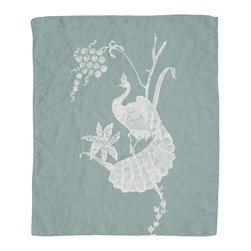 Cricket Radio - Indochine Peacock Hand Towel, Sky/White - Go ahead. Strut your stuff. This beautiful towel features a hand-printed peacock and floral on soft Italian linen in your choice of color combinations. Whether you hang it in your kitchen or bath — or use several as oversize napkins — you'll be proud to call this towel your own.