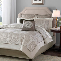 """Madison Park - Madison Park Tiburon 12 Piece Complete Bed Set - For an updated classic look, Tiburon is a perfect way to give your bedroom a new look. The medallion motif is woven in a taupe color on an ivory base. The neutral colors of this bed make it easy to work in any bedroom in your home. The reverse of the comforter is a solid light sand color. The coordinating ivory sheet offer a contrast 1/4"""" flat piping decorative cuff, and are 100% cotton, 200 Thread Count. Comforter & Sham: 100% polyester jacquard with 1/2"""" poly polyoni piping, 100% polyester brushed fabric back, 270g/m2 poly fill; Bedskirt: 100% polyester polyoni fabric drop, poly platform; euro sham: polyoni with quilting; sheets: 200TC cotton twill with piping; Square Pillow 18"""": 100% polyester polyoni on face and polyoni back, poly fill; oblong : 100% polyester cover, poly fill."""