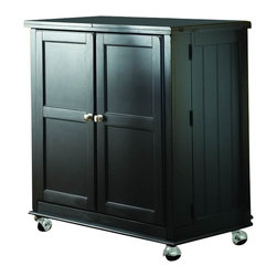 American Drew - American Drew Camden Black Flip Top Bar - American Drew - Home Bars - 919582 - The American Drew Camden Black Collection accents simple forms with quiet traditional references gentle curves and a beautiful time worn black finish that lets the character of the wood show through. The brushed nickel finish hardware adds even more casual elegance to Camden. This collection will work great in an urban chic setting classic antique or rustic vacation home.The Camden Flip Top Bar has a casual and elegant design that maximizes the use of space and it is mounted on casters to allow extra mobility. Features: