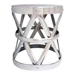 Bronn Accent Table - Industrial in style. This Hammered aluminum table makes a perfect accent piece.