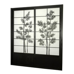 Oriental Unlimited - 7 ft. Tall Bamboo Tree Shoji Sliding Door Kit (Natural) - Finish: NaturalIncludes sliding doors, top and bottom tracks and right and left door jambs. Bamboo tree print is a striking design. Designed for constant use and easy to install, like a pre-hung door kit from the lumberyard. Top quality. Shade is tough. Hard fiber rice paper that is difficult to punctured. Allows diffused light, yet provides complete privacy. Crafted from durable, lightweight and beautifully finished Spruce. Constructed using east Asian style mortise and tenon joinery. Assembly required. Rough opening (outside dimension): approximately 73.5 in. L x 3.5 in. W x 83 in. H. Tracks and jambs: approximately 1.75 in. W x 3.5 in. H. Each door: approximately 36 in. L x 1 in. W x 80 in. H. NOTE: If you prefer no bottom track, install sliding door hardware (top mounted) from your local hardware retailer.
