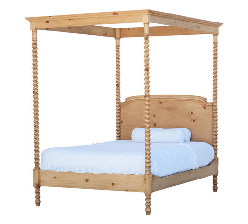 Sweet Elle Furniture - Grand St. Andrews Canopy Bed, Queen - Our Grand St Andrews Canopy Bed is simply stunning. It boasts four turned posts that twist up to support the tester or rectangular panel. Tester or four-poster beds date back to the 16th century or earlier. This bed adds drama and dimension to any bedroom and makes a bold statement of designer style. This item is Artisan crafted, using traditional mortise and tenon joinery. Given its handmade nature, variations in the wood are to be expected and celebrated. Handmade from solid pine wood, finished by hand. Made in USA.