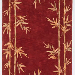 """Kas - Tropical Bamboo Double Border Red Sparta Floral 2'6"""" x 10' Runner Kas Rug  by Ru - Our Sparta Collection is an exclusively designed line of hand-tufted carpets with an antique finish. These rugs are made in China using high density Chinese wool. Classic and new designs in floral and other styles have been constructed using current color trends. These rugs are finished with an antique vegetable-dyed look and abrash effect. The combination of fresh color and design and antique finish gives this collection unique trend-setting characteristics."""