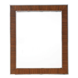 Lexington - Lexington Mirage O'Hara Mirror - Add a blend of the old and the new with the classic design of the O'Hara Mirror. The mirror's simple, conservative rectangular shape makes it a versatile piece that can fit in just about any setting. Designed with the ability to hang horizontally or vertically, this mirror can easily be paired with a dresser, buffet or another object of your choosing. It's contemporary design features a Quartered Walnut wood with lovely grain exposure, surrounded by a thin frame of polished silver steel.