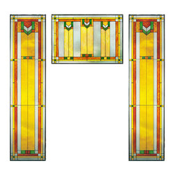 """Maclin Studio - Arts and Crafts Prairie Window Green Art Glass Panel Triptych - The Arts and Crafts Prairie Window Red Art Glass Panel Triptych is a set that includes two of our striking new 42"""" tall Prairie Window Art Glass Panel 9 (left/right) and one Prairie Window Art Glass Panel Red (middle). All panels are hand made in the USA with a color palette of Green, Gold Ambers and Frosted Clear. Ht: 42"""" W: 10.25"""" (left/right). Ht: 14"""" W: 20.5"""" (middle). On these glass panels, enamel colors are individually applied to a single sheet of tempered glass giving each panel unique aspects of both color and texture. The glass is then framed with a patinated metal came and comes complete with a set of six mounting chains."""