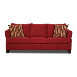 Simmons - Made to Order Simmons Upholstery Diver Red Queen Hide-A-Bed - Enhance your living space with this stylish and cozy queen-sized hide-a-bed sofa from the Diver collection by Simmons. Made with a red cover that brightens up any area,this versatile piece provides luxurious relief with the cushioned seat,back and arms.
