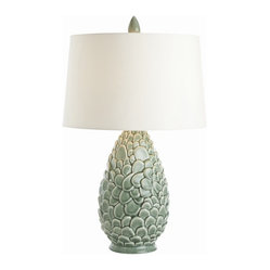 Arteriors - Rae Celadon Porcelain Lamp - Natural textures seem to come alive on this unique table lamp. Made of porcelain with a celadon glaze and topped by a complementary green-lined shade, it's a lovely addition to your favorite setting.