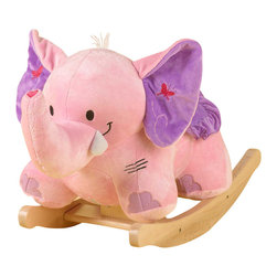 Rockabye - Rockabye Bella The Pink Elephant - Little girl explorers will love to rock for hours through the lush jungles of their imagination. BellaóÇÖs big soft ears crinkle and her trunk squeeks . She's made of luxurious materials with a soft blanket seat, including two embroidered dragonflies which fly together to create a sweet heart. Its heirloom quality, fun-filled activites (like a squeeker in her trunk and crinkle in her ears) and original music will delight your little elephant rider. The four original songs are operated by pushing the colored shapes. These great songs also teach ABCóÇÖs, 123's, colors, shapes and more.