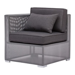 """Zuo - Zuo Clear Water Bay Outdoor Corner Chair - Transformative style and comfort are yours with this outdoor corner chair. Use alone or as a part of the Clear Water Bay modular seating set. Aluminum frame. Textile weave outer covering. Cushions are made of an antimicrobial foam with a UV and water-resistant fabric cover. From Zuo. 30"""" wide. 30"""" deep. 29"""" high.  Transformative style and comfort are yours with this outdoor corner chair.   Use alone or as a part of the Clear Water Bay modular seating set.   Aluminum frame.   Textile weave outer covering.   Cushions are made of an antimicrobial foam with a UV and water-resistant fabric cover.   Cushions included.  From Zuo.   30"""" wide.   30"""" deep.   29"""" high."""