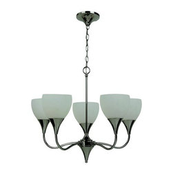 Sea Gull Lighting - Sea Gull Lighting 31961 Five Light Chandelier Solana Collection - Contemporary / Modern Five Light Chandelier from the Solana CollectionSolana's soft flowing curves and sleek lines depict sophistication and grace. The generously proportioned tulip shaped glass, along with polished nickel finish, reflects transitional style with hints of contemporary flare.