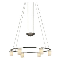 George Kovacs - Counter Weights Round Suspension - Counter Weights Round Suspension is available in a Brushed Nickel finish with Etched Opal glass. Six 20 watt, 12 volt JC type G4 base Krypton Xenon lamps are included. 25 inch width x 4.25 inch height x 76 inch adjustable length.