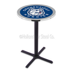 Holland Bar Stool - Holland Bar Stool L211 - Black Wrinkle Connecticut Pub Table - L211 - Black Wrinkle Connecticut Pub Table belongs to College Collection by Holland Bar Stool Made for the ultimate sports fan, impress your buddies with this knockout from Holland Bar Stool. This L211 Connecticut table with cross base provides a commercial quality piece to for your Man Cave. You can't find a higher quality logo table on the market. The plating grade steel used to build the frame ensures it will withstand the abuse of the rowdiest of friends for years to come. The structure is powder-coated black wrinkle to ensure a rich, sleek, long lasting finish. If you're finishing your bar or game room, do it right with a table from Holland Bar Stool. Pub Table (1)