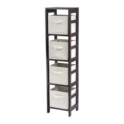 Winsomewood - Capri 4-section N Storage Shelf with 4 Foldable Beige Fabric Baskets - This storage shelf comes with 4 foldable beige fabric baskets. Espresso finish storage shelf is perfect for any room in your home. Use it alone as book shelf or with baskets for a complete storage function. Assembly required for shelf.