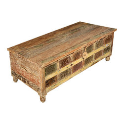 Sierra Living Concepts - Rustic Hand Carved Reclaimed Wood Storage Trunk Chest - The subtle elegance of naturally aged wood and the expert craftsmanship of skilled artisans come together in our Rustic Hand Carved Storage Trunk Chest.