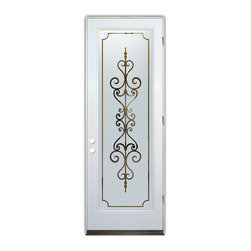 Sans Soucie Art Glass (door frame material Plastpro) - Glass Front Entry Door Sans Soucie Art Glass Carmona - Sans Soucie Art Glass Front Door with Sandblast Etched Glass Design. Get the privacy you need without blocking the light, thru beautiful works of etched glass art by Sans Soucie!  This glass is semi-private.  (Photo is view from outside the home or building.)  Door material will be unfinished, ready for paint or stain.  Bronze Sill, Sweep and Hinges. Available in other sizes, swing directions and door materials.  Dual Pane Tempered Safety Glass.  Cleaning is the same as regular clear glass. Use glass cleaner and a soft cloth.