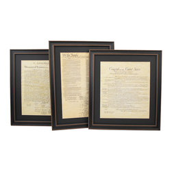 """Patriot Gear Company - Poster Size Framed Constitution, Bill of Rights, and Declaration of Independence - The United States Constitution, Bill of Rights and the Declaration of Independence, the greatest documents ever penned in human history.  The U.S. Constitution was written principally by James Madison, and it is the oldest written constitution still used by any nation. It serves as the framework for the organization of the United States government and for the relationship of the federal government with the states, citizens, and all people within the United States.  The Declaration of Independence was adopted by the Continental Congress on July 4, 1776. It announced that the thirteen American colonies, then at war with Great Britain, were now independent states and thus no longer a part of the British Empire. Written primarily by Thomas Jefferson, the Declaration is a formal explanation of why Congress had voted on July 2 to declare independence from Great Britain, more than a year after the outbreak of the American Revolutionary War. The birthday of the United States of America known as Independence Day;is celebrated on July 4, the day the wording of the Declaration was approved by Congress. Recently freed from the despotic English monarchy, the American people wanted strong guarantees that the new government would not trample upon their newly won freedoms of speech, press and religion, nor upon their right to be free from warrantless searches and seizures. So, the Constitution's framers heeded Thomas Jefferson who argued: """"A bill of rights is what the people are entitled to against every government on earth, general or particular, and what no just government should refuse, or rest on inference.""""  The American Bill of Rights, inspired by Jefferson and drafted by James Madison, was adopted, and in 1791 the Constitution's first ten amendments became the law of the land."""