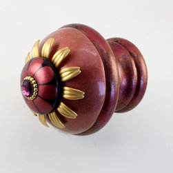 Drapery Rod Finial Poppy - Hand sculpted and painted drapery rod finial is available with matching cup bracket and wooden rods, all sold separately
