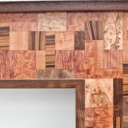 "Walnut Fireplace Mantel ""Mosaic"" design series - ""Mosaic"" fireplace mantel in Walnut with mosaic pattern in Mahgany, Zircote, Bubinga, Rozewood and other burls. Andre Aloshine"