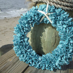 Nags Head Homespun Fabric Rag Wreath by Rag Wreath Boutique - Talk about the perfect summer wreath. You would definitely think about the beach every time you walked through the front door.