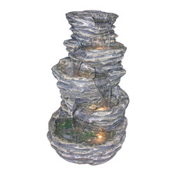 "Alpine Corporation - Alpine 39"" High 5-Level Rock Pond Fountain with Lights - Our newest line of fiberglass fountains utilizes strong geometric designs for clean, crisp appeal. These generously sized fountains have the look of natural stone with the strength and durability of Fiberglass. Multiple Streams of water flow to create a relaxing and meditative atmosphere. They can be placed indoors or out."