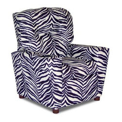Dozydotes Kid Recliner with Cup Holder - Zebra - Someone hand the Dozydotes Kid Recliner with Cup Holder - Zebra an award - it's a real winner. Your little one will love sitting back in this durably built chair crafted with solid hardwood. It's upholstered in a wild zebra print that'll bring definite style to any room and it's got a smooth reclining mechanism. Also a cup holder for the most delicious drinks. About DozydotesDozydotes' mission is to bring joy to children and confidence to shoppers which Dozydotes achieves by offering exclusive designs and high quality products. The brainchild of experienced mother Rene Campbell and elementary educator Alisa Clark-Slodoba Dozydotes aims to bring smiles to the faces of children and parents alike with fun creative products. Designed with kids in mind Dozydotes recliner chairs are miniature versions of the real thing and are equally attractive meaning your child will have a custom-sized chair that will look great in your home.