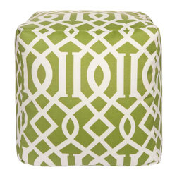 POUF-110 Storm Outdoor Safe Pouf - Let this square pouf be the perfect accent piece in any room, indoors or outdoors. The edgy pattern is set against a natural green background.