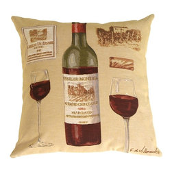 Pillow Decor - Pillow Decor - Fabrice de Villeneuve Red Wine Pillow - This unique Flemish tapestry pillow imported from Belgium Features the art of Fabrice De Villeneuve and his rendering of a bottle of Margaux and two inviting wine glasses. This is the ideal gift for the wine lover. Place this interesting pillow on a leather chair or garden bench, or anywhere where one might enjoy a glass of wine. Well proportioned and richly detailed this pillow has an elegant presence.
