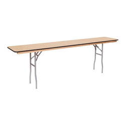 PRE Sales - 18 in. Wide Wooden Conference Table - Birch plywood top. Rubber bull-nose. Automatic locking legs. Tested lead-free. Top and bottom with polyurethane finish. 3 years limited warranty. 96 in. L x 18 in. W
