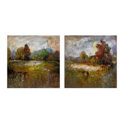 iMax - iMax Guennola Oil Painting - Set of 2 X-2-04307 - With beautiful raised flourish patterns, the autumn inspired Guennola paintings have an expressionistic style in oil on canvases. Set of two.