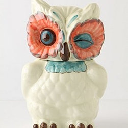 """Anthropologie - A Real Hoot Canister - New bone chinaHand wash11.5""""H, 5.5""""W, 7""""DImported"""