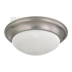 "Satco - Satco 17"" Twist and Lock Energy Efficient Traditional Flush Mount Ceiling Light - Subtle beveled detailing adds just the right amount of visual flair to this otherwise clean and minimalist styled Nuvo Lighting flush mount ceiling light. From the Twist and Lock Collection, this energy efficient modern flush ceiling light comes finished in a contemporary Brushed Nickel hue that pairs beautifully with the clean look of the frosted white glass diffuser."