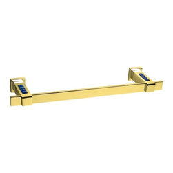 Windisch - 23 Inch Towel Bar In Gold With Blue Crystals - Modern 22.8 inch wall mounted squared rectangular bathroom towel bar.