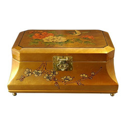 Oriental Furniture - Adorlee Jewelry Box - Gold - Perfect for a unique gift, or as a special treat for yourself, this finely detailed jewelry box was hand-crafted by artisans in the Guangdong province of mainland China. Employing classic Chinese lacquering techniques, it has a rich, medium gloss finish. The inner compartment is lined with fine red felt and has a removable felt ring tray for extra storage options.