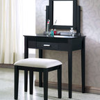 "Monarch - Black Grain Veneer 2Pcs Vanity Set / Grey Fabric Stool - This stylish contemporary, two piece vanity set will be a fabulous addition to your bedroom or dressing area. Create a peaceful space to get ready for your day, or a great place to dress for a fun night out. This piece features smooth lines, square legs, a vertical swivel mirror, and a center drawer to keep brushes and other objects. With a black grain finish and constructed with solid hardwoods and veneer, this vanity set will add sophistication to any room. The matching stool features sleek wooden legs, accompanied with a comfortably padded grey fabric covered seat.;Features: Color: Black;Weight: 40 lbs.;Dimensions: Table: 30""L x 16""W x 30""H;Chair: 19""L x 15""W x 18.5""H"