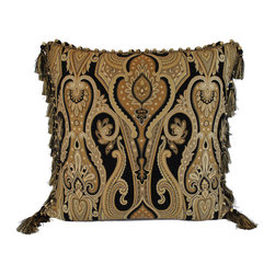 Austin Horn Classics - Austin Horn Classics Cleopatra 26-inch Feather and Down Filled Luxury Euro Pillo - Give your home a luxurious update with this beautiful Euro pillow from Austin Horn Classics. The intriguing paisley pattern design with a fringe edge trim is complemented by a suede coordinating backing.