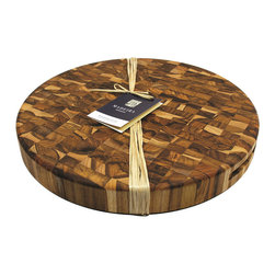 Madeira - Madeira Canary Extra-large Round End-grain Teak Chop Block - Chop and dice ingredients or serve a delicious appetizer with the help of this multi-purpose Canary chop block. With an extra-large workspace, this block is crafted with environmentally-conscious teak and features a beautiful natural end-grain finish.