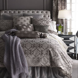 "Horchow - Queen Damask Duvet Cover, 94"" x 90"" - A stunning combination of patterns and textures as well as an array of gorgeous color choices; choose below. Large damask jacquard, medallion foulard, and trellis patterns are cotton/polyester. Dust skirts and matching European sham are polyester organz..."
