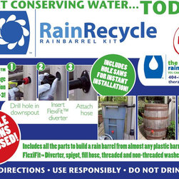 RainRecycle DIY Rain Barrel Kit - We created the RainRecycle Do It Yourself Rain Barrel Kit which contains everything you need to build a rain barrel using the ever popular flexi-fit diverter. Build and install a rain barrel in minutes and start saving water today.