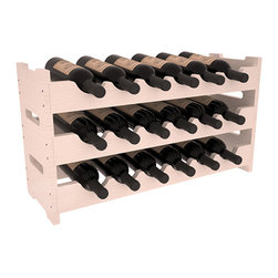 18 Bottle Mini Scalloped Wine Rack in Pine with White Wash Stain + Satin Finish - Stack three 6 bottle racks for proper storage of 18 wine bottles. This rack requires light hardware for assembly and is ready to use as soon as it arrives. Makes the perfect gift and stores wine on any flat surface.