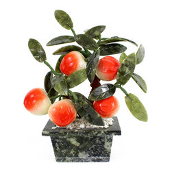 Jade Peach Bonsai Tree - Wonderful little bonsai tree in a marble planter with green jade leaves and orange and white ceramic peaches.