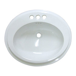 Kingston Brass - White China Countertop Bathroom Sink with 4in. Center - The oval-shaped platform along with its smooth rotund interior makes Eden a sight to behold as an added decoration for your room.