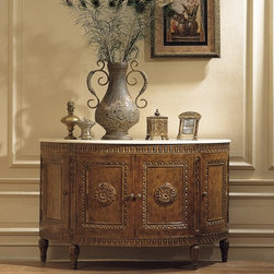Woodbridge Commode - Woodbridge Commode with marble top in Antique Walnut finish.  Commode features imported white Italian marble top with curved side panel design and exquisitely hand-carved details from kiln-treated hardwood for a lasting and luxurious finish.